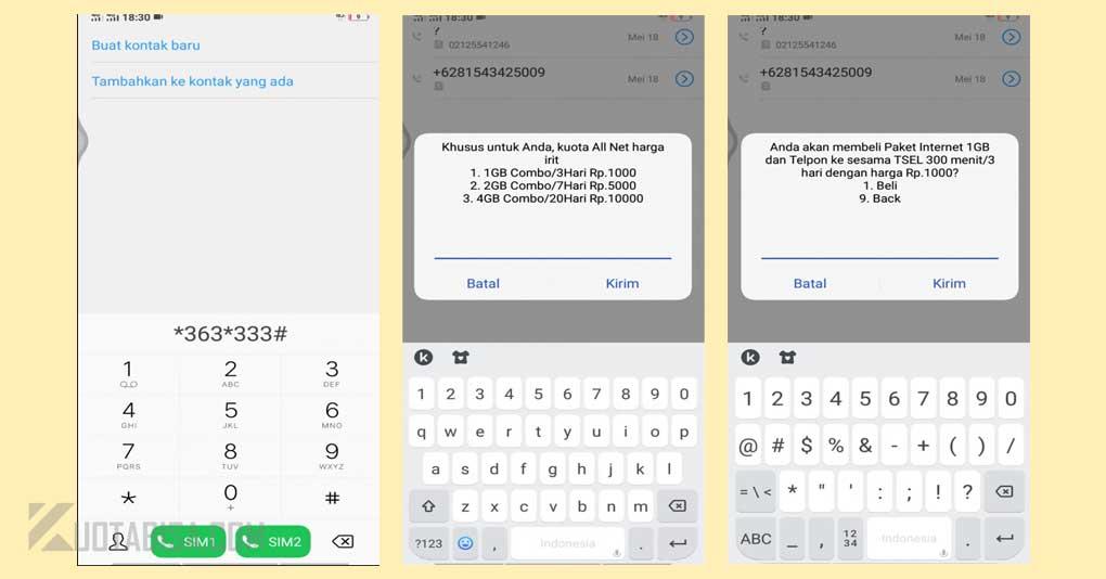 Dial USSD Paket Internet Telkomsel 1000 rupiah 1GB