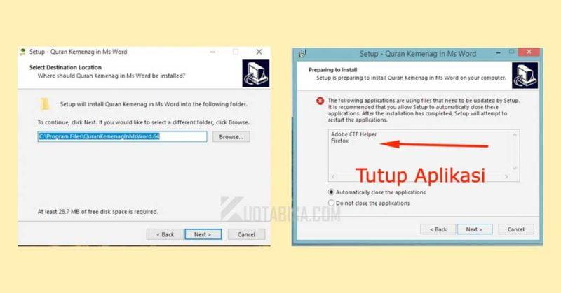 Tutup Aplikasi saat install Quran