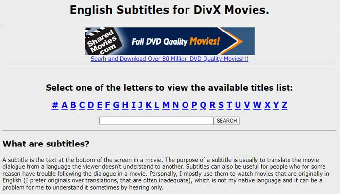 Subtitles for Divx and DVD Movies